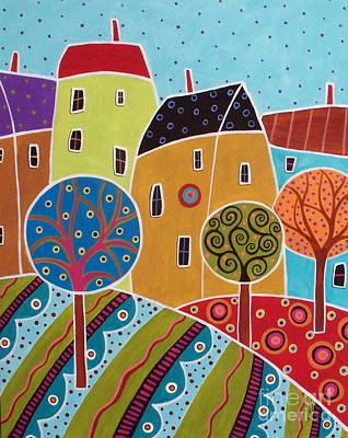 Four Houses Three Trees Landscape Art Print by Karla Gerard
