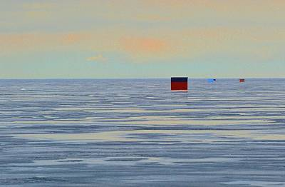 Digital Art - Four Huts On The Ice Two  by Lyle Crump