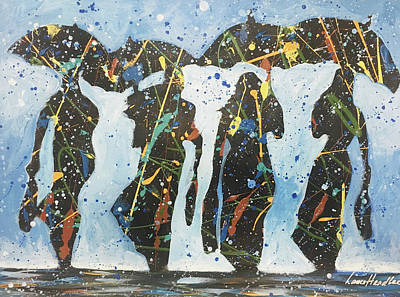 Painting - Four In The Rain by Lance Headlee