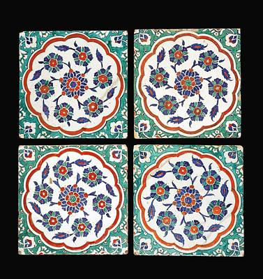 Pottery Painting - Four Iznik Polychrome Pottery Tiles by Eastern Accents