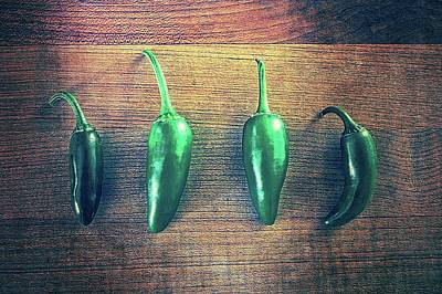Photograph - Four Jalapenos by Michelle Calkins