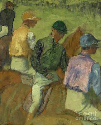 Edgar Degas Wall Art - Painting - Four Jockeys by Edgar Degas