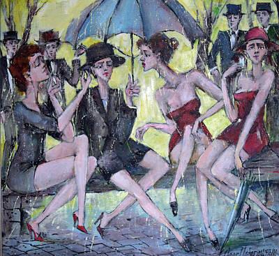Painting - Four Ladies by Oleg Poberezhnyi