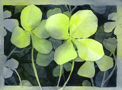 Painting - Four Leaf Clover Watercolor by Olga Shvartsur
