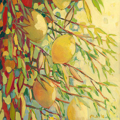 Lemon Painting - Four Lemons by Jennifer Lommers