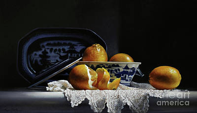 Canton Painting - Four Lemons With Canton by Larry Preston