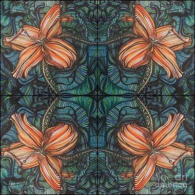 Four Lilies Leaf To Leaf Art Print
