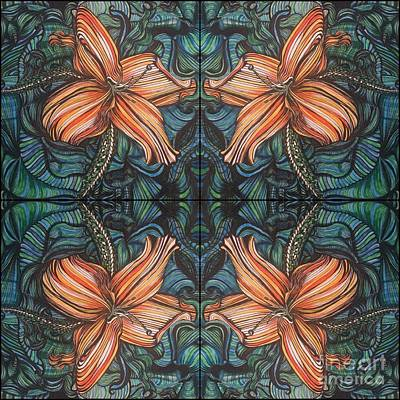Four Lilies Looking In Art Print