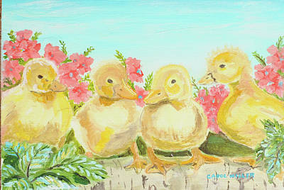 Painting - Four Little Duckling In A Row by Carol L Miller