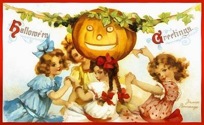 Photograph - Four Little Girls One Great Pumpkin by Unknown