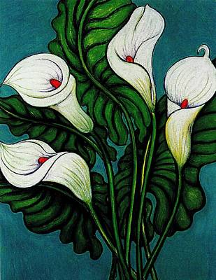 Pastel - Four Long Lilies by Richard Lee