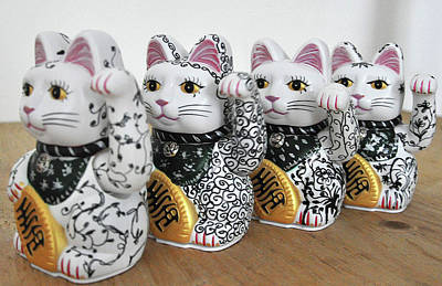 Sculpture - Four Lucky Cats Upcycled by Sylvie Proidl