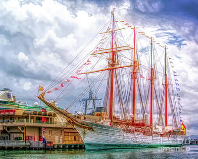 Photograph - Four Masted Schooner In Port by Sue Melvin