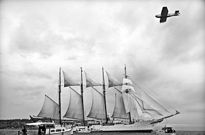 Photograph - Four-masted Topsail, Steel-hulled Barquentine Departure And A Plane by Pedro Cardona Llambias