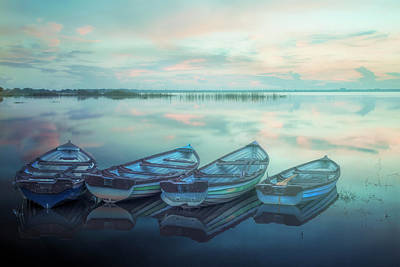 Photograph - Four Old Boats In The Mist by Debra and Dave Vanderlaan