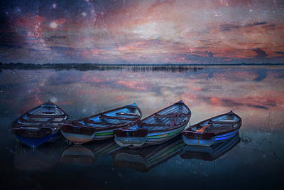 Photograph - Four Old Boats On A Starry Night by Debra and Dave Vanderlaan