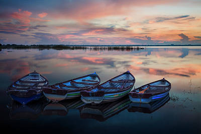 Photograph - Four Old Boats Side By Side by Debra and Dave Vanderlaan