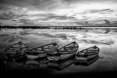 Photograph - Four Old Boats Side By Side In Black And White by Debra and Dave Vanderlaan