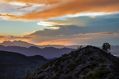 Photograph - Four Peaks Desert Sunset Mountain Layers by Dave Dilli
