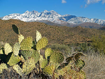 Photograph - Four Peaks In Snow 11 by Jeff Brunton