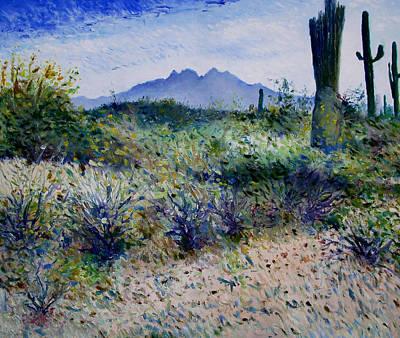 Four Peaks Phoenix Arizona Usa 2003  Art Print by Enver Larney
