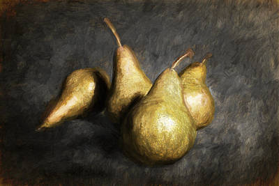 Photograph - Four Pears With Painterly Effects by Randall Nyhof