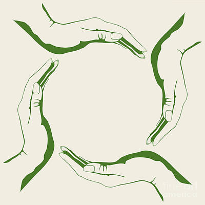Digital Art - Four People Hands Making Circle Conceptual Round Green Eco Symbo by Oleksiy Maksymenko