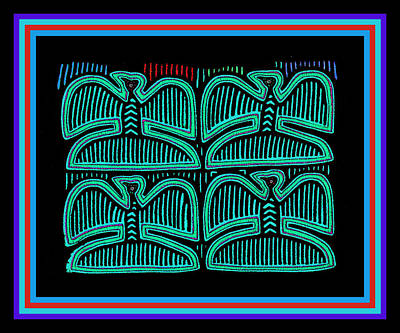 Digital Art - Four Pigeons At Night by Vagabond Folk Art - Virginia Vivier