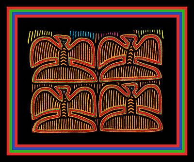 Digital Art - Four Pigeons At Sunset - Kuna Indian Folk Art by Vagabond Folk Art - Virginia Vivier