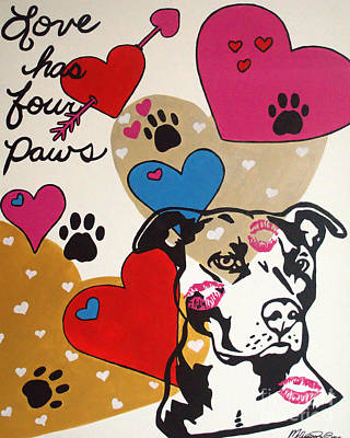 Painting - Four Pitty Paws by Melissa Jacobsen