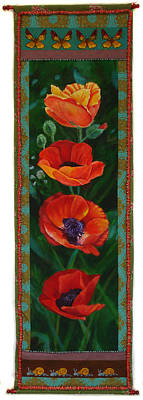 Painting - Four Poppies by Grace Matthews