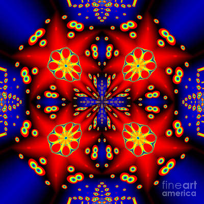 Mandala Digital Art - Four Red Stars Mandala by Marv Vandehey