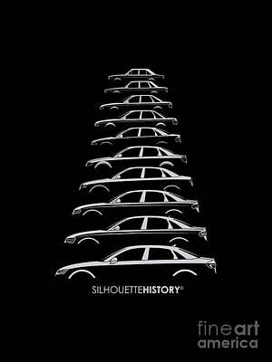 Audi Digital Art - Four Rings Sedan Silhouettehistory by Gabor Vida