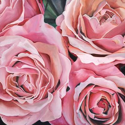 Florals Painting - Four Roses by Donna Tuten