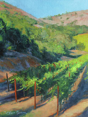 Grapes Painting - Four Rows Napa Valley by Anna Rose Bain