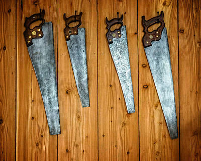 Handsaw Photograph - Four Saws On A Wall by Chris Bordeleau