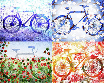 Painting - Four Season Bicycle  by Irina Sztukowski