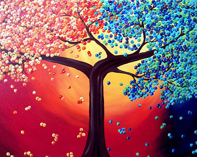 Four Seasons Tree Nature Summer Painting - Four Seasons by Amber Hennessey