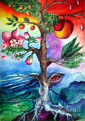 Four Seasons Tree Nature Summer Painting - Four-seasons Apple Tree. Mutation by Sofia Metal Queen