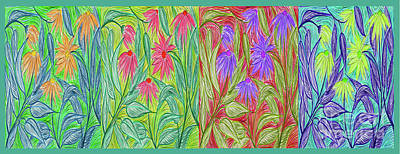 Drawing - Four Seasons Coneflower Garden Pop By Jrr by First Star Art