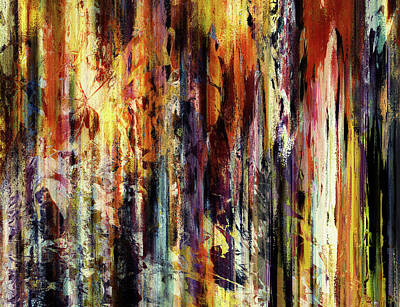 Earthy Art Mixed Media - Four Seasons In One Forest Abstract by Georgiana Romanovna