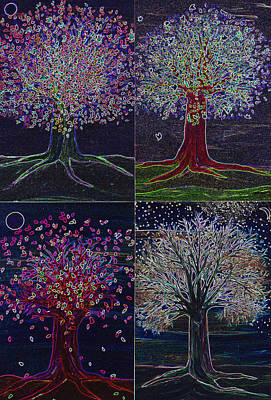 First Star Art By Jrr Digital Art - Four Seasons Night Trees by First Star Art