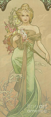 Gown Painting - Four Seasons Spring, 1900 by Alphonse Marie Mucha
