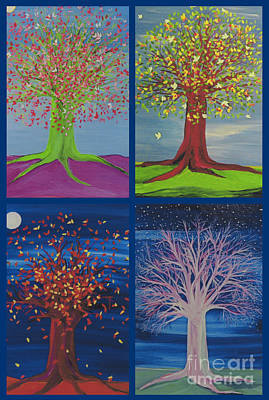 Tree Roots Painting - Four Seasons Trees By Jrr by First Star Art