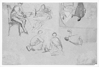 Four Sketches From Sketchbook Original by James McNeill Whistler