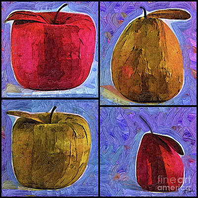 Digital Art - Four Square Fruit by Kirt Tisdale