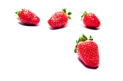Four Strawberries Art Print