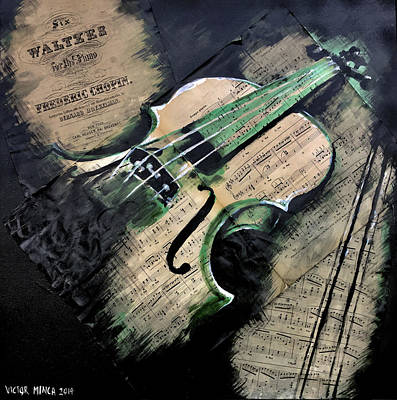Mixed Media - Four Strings by Victor Minca