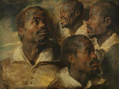 1640 Painting - Four Studies Of A Head Of A Moor By Peter Paul Rubens, 1640 by Celestial Images
