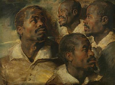 Four Studies Of A Head Of A Moor Art Print by Peter Paul Rubens